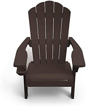 Outdoor Patio Garden Deck Furniture Resin Adirondack Chair with Built in Cup Holder Brown product image
