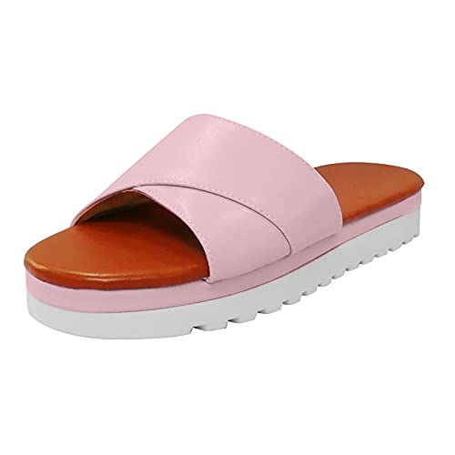 Sandalias planas de verano para mujer, suela gruesa, transpirables, sandalias para el exterior, sandalias de deporte, sandalias cómodas, estilo romano, sandalias con puntera abierta