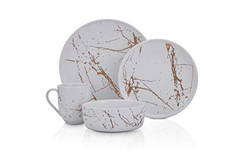 Stone Lain Modern Gold Splash Exquisite Fine China Dinnerware Set 16 Piece - Service for 4 White Gold