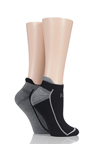 Ladies 2 Pair Elle Sports Trainer Socks Black 4-8