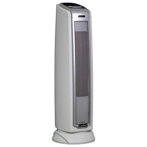 Lasko 5775 Electric 1500W Ceramic Space Heater Tower with Thermostat and Auto-Off Timer for Bedroom and Indoor Home Office Use, White