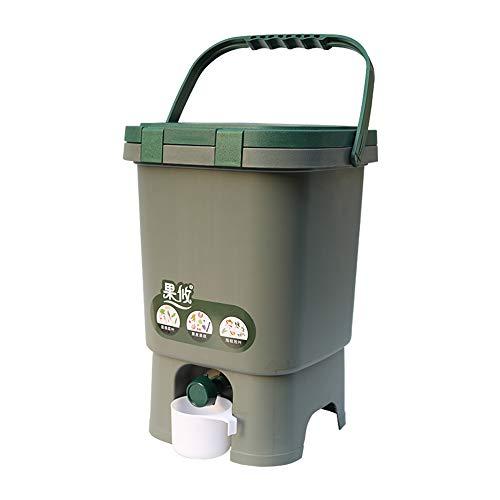 Contenitore per compostaggio alimentare da cucina interna, Cestino per rifiuti da 15 litri con coperchio, Fermentatore di plastica rimovibile, Fertilizzante organico di nutrizione casalinga dell'iar