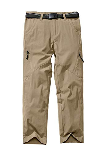 Kids'Cargo Pants, Youth Boys' Hiking Pants, Casual Outdoor Quick Dry Boy Scout Uniform Trial Pants Trousers,Khaki,M(10Y)