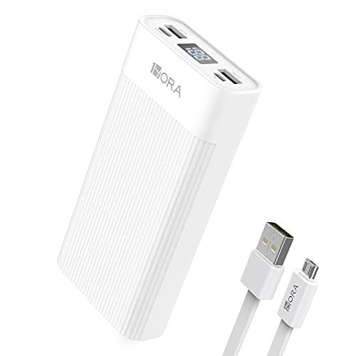 1 Hora Power Bank 20000mAh, Banco de Energía con 2 Puertos de USB, Batería Portátil con Pantalla LED Pila Portatil Compatible para IP Samsung Xiaomi, con un 20CM Cable Micro...