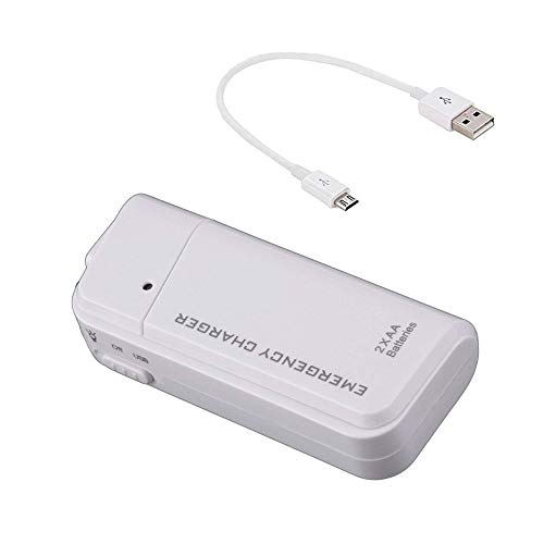 Success4Sport Portable AA Battery Travel Charger Works for Karbonn K9 Smart Grand and Emergency Re-Charger with LED Light! (Takes 2 AA Batteries,MicroUSB) [White]