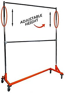 Only Hangers GR400EH - Adjustable Height Industrial Strength Z Rack with Add-On Hangrail and Built-in Height Extensions - Orange OSHA Approved Base - Tallest Z Rack Available!