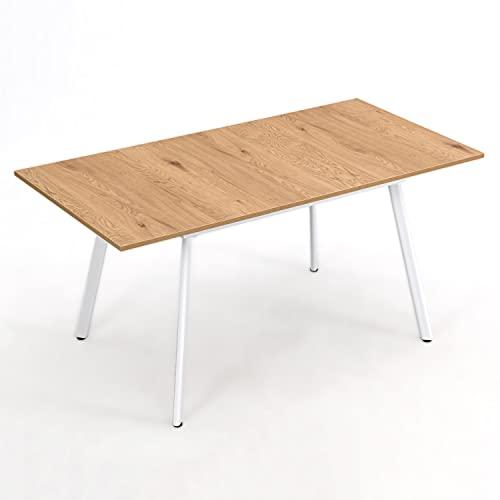 B&D home Esstisch ausziehbar, ausziehbarer Küchentisch für 4-6 Personen, Holztisch Eiche, Metallgestell weiß, für Esszimmer, Küche, Skandinavische Design, 120-160x80 cm
