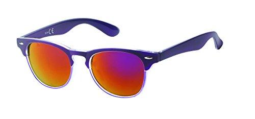 Chic-Net Hochwertige Sonnenbrille schmal Katzenauge farbenfroh Unisex verspiegelt 400 UV Nerd lila