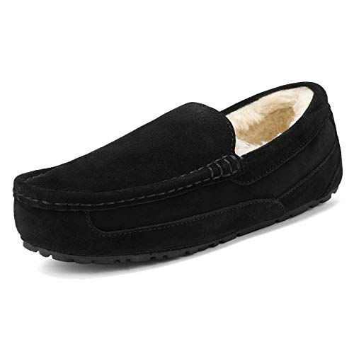 DREAM PAIRS Men's Au-Loafer-01 Black Suede Faux Fur Slippers Loafers Shoes Size 12 M US