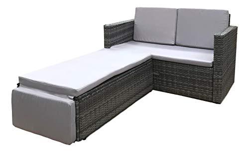 EVRE Outdoor Rattan Garden Love Bed Furniture Set Patio Conservatory (Grey)