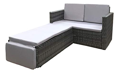 EVRE Outdoor Rattan Garden Love Bed Furniture Set Patio Conservatory (Grey)