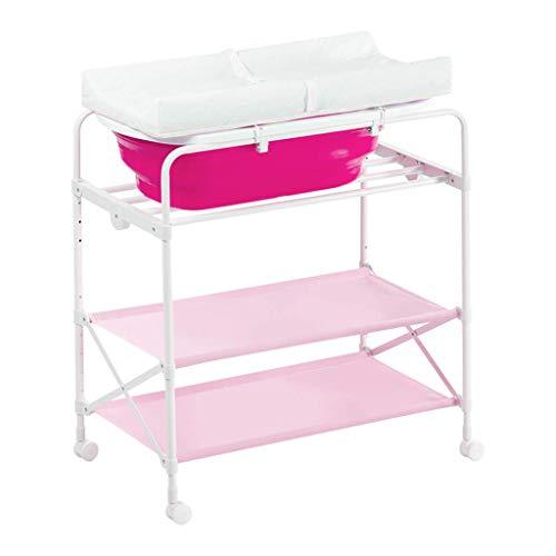LZQBD Family Care/mit Badewanne und Regalen Windel-Station mit Rad-Baby-Pflege Tischdecke Tisch -Tisch Nursery Organizer for Jungen-Mädchen-Kleinkind-Baby-Kleinkind ändern