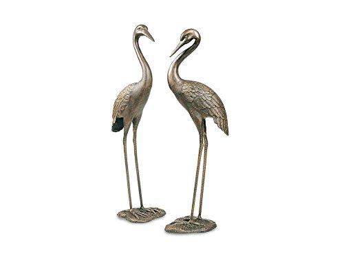 BestMobiliar 2er Set Kraniche Gartenfigur Gartentier Tierfigur Vogel Kranich Kranichpaar Deko Garten Gartendeko Tier Vogelfigur Teichfigur Teich Skulptur