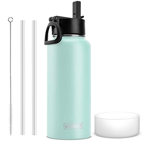 koodee Insulated Water Bottle, 32 oz Stainless Steel Double Wall Vacuum Insulated Thermos Wide Mouth Sports Water Bottle with Leak Proof Straw Lid (Baby Blue)