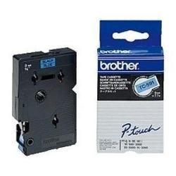 Brother TC591 Schriftbandkassette 9 mm x 7.7 m blau / schwarz laminiert für P-touch 8e 500 2000 3000 5000
