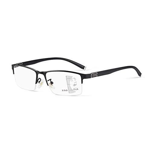 QL Intelligentes Zoom Progressive Multifokal-Brille, High-Definition-Harz Objektiv Mode für Männer und Frauen Brille, Legierung Rahmenbreite einstellbar