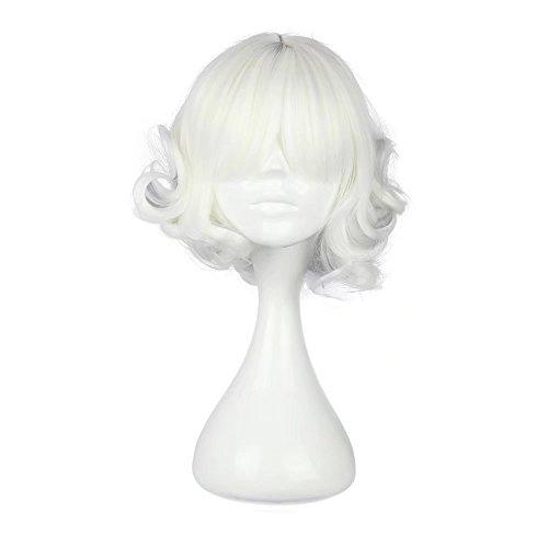 COSPLAZA Cosplay Wig Halloween Wavy Japanese Harajuku Lolita Theme Party Hair White