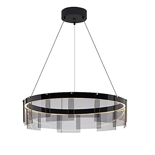 OURLOVEII Lámpara Colgante Mesa de Comedor Moderna Lámpara Colgante Led Colgante de Luz Salón Diseño Anillo, para Dormitorio Comedor Cocina Luz Pendiente Cristal Gris Humo Redondo Regulable,60CM