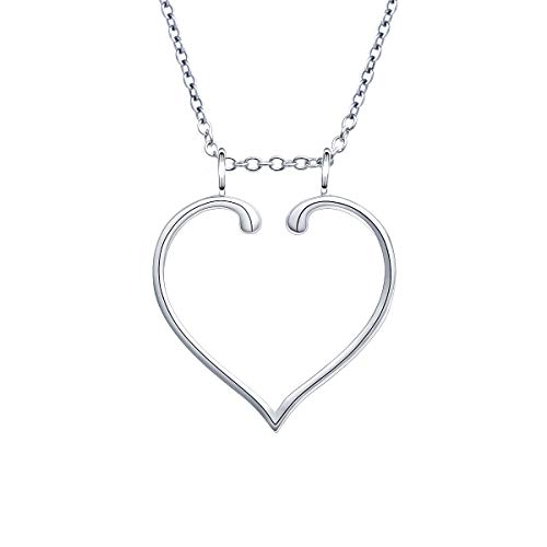 S925 Sterling Silver Jewelry Open Heart Pendant Ring Holder Necklace Wedding Engagement Anniversary Infinity Love Gift for Her, Wife, Girlfriend, Fiancee