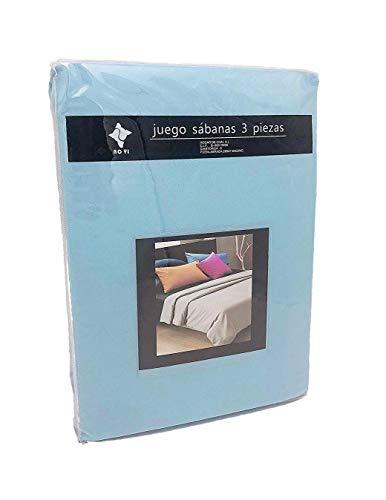 LEYENDAS Juego SABANAS 3 Piezas Liso 15 Color,100% Poliester (Azul Celeste, 135_x_200_cm)