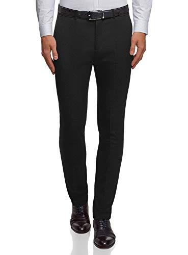oodji Ultra Hombre Pantalones Slim Básicos, Negro, ES 44 (L)
