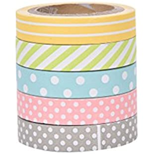 Coloured Handmade Paper Tapes for DIY Decoration Decorative Washi Tape Colored Adhesive Tapes (Set of 5)