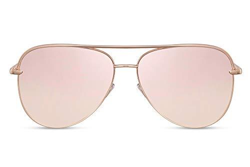 Cheapass Piloten-Sonnenbrille Rosé-Gold Verspiegelt UV-400 X-XL Oversized Metall Damen Frauen