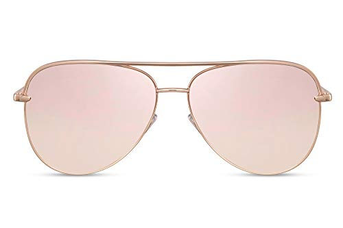 Cheapass Piloten-Sonnenbrille Rosé-Gold Verspiegelt UV-400 X-XL Oversized Metall Damen Frauen