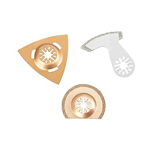 Ticfox - Kit de cuchillas de sierra oscilantes universales de 3 piezas, herramienta multifuncional para ladrillos de piso de lechada de hormigón