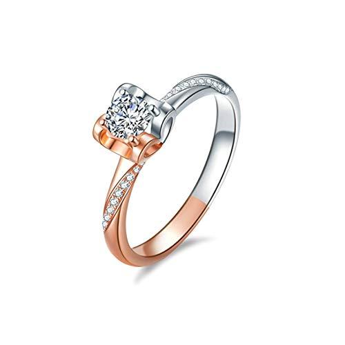 Daesar Anillos de Oro Blanco/Oro Rosa Mujer 18 K,Anillo de Compromiso Mujer Oro Rosa Plata Corazón Hueco con Redondo 0.25ct Diamante Blanco 0.05ct Anillo Talla 18,5