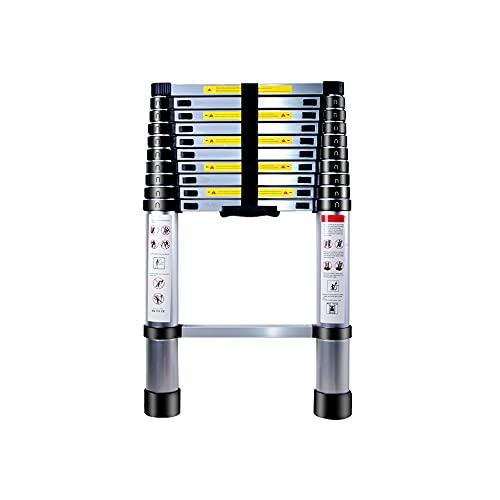 Escalera Telescópica de Aluminio , YABAG Escaleras Extensible Multifunción Portátil Escalera Ajustable con Escalones Antideslizante Carga Máxima 150 kg (3.2 M)