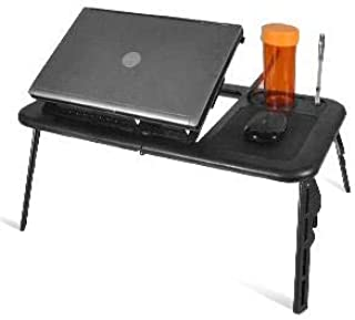 EBTOOLS - Bandeja de cama ajustable con ventilador de refrigeración USB, apta para portátiles de hasta 15 pulgadas