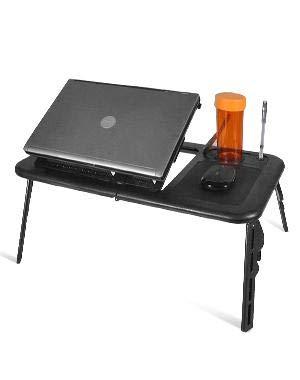 Estink - Mesa de ordenador con ventilación, plegable, mesa de cama, diseño de conejo, altura ajustable con hueco para ordenador portátil, borde negro
