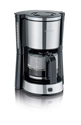 SEVERIN KA 4822 Cafetera Type para filtros de Café Molido, 10 tazas incluye jarra de cristal, acero inoxidable/negro