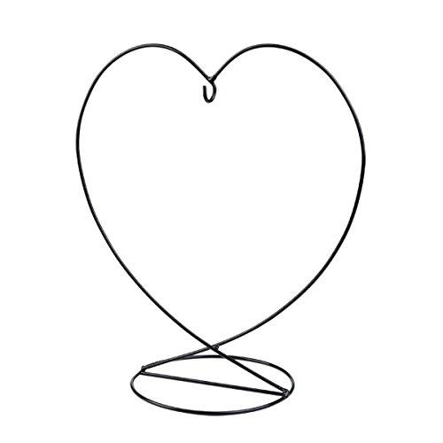 HEART Shaped Black Metal Stand for Displaying Handmade Hanging Glass BIRTH GEM/Friendship 19cm