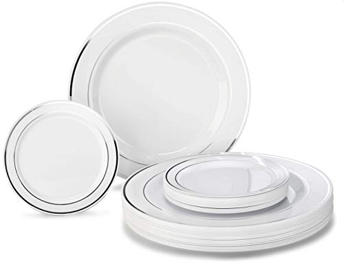 """"""" OCCASIONS """" 50 Plates Pack, Heavyweight Premium Disposable Plastic Plates Set (25 x 10.5'' Dinner + 25 x 6.25'' Cake plates) (White & Silver Rim)"""