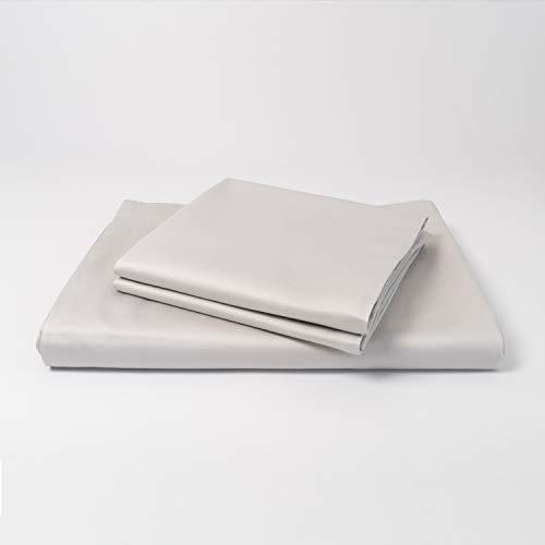 cloudlinen Bettwäsche Set aus 100% Extra-Langstapeliger Premium Baumwolle - 200x220 cm (Bettbezug) + 2 * 80x80 cm (Kissen) - grau einfarbig/unifarben - kuscheliger, Warmer und weicher Mako Satin