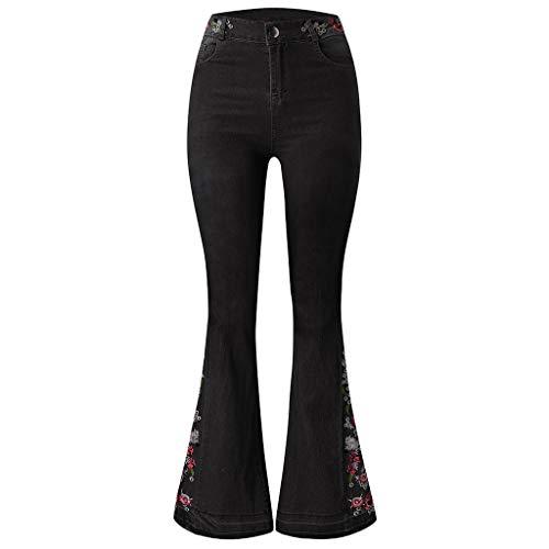 Muyise Damen Hohe Taillen Stickerei Print Jeans Hosen Plus Size Denim Schlaghose Taste Zipper Mit Taschen Casual Hosen Slim Streetwear Jeanshose Trousers Pants(Schwarz2,XL)