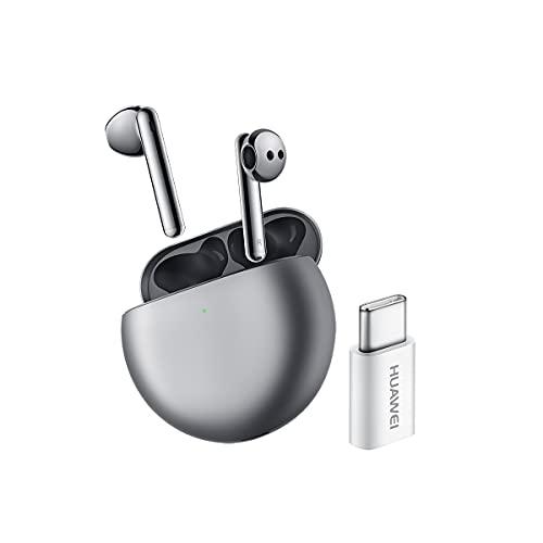 HUAWEI FreeBuds 4 + USB-C - Auriculares inalámbricos, Bluetooth de ajuste semi-interno con cancelación de ruido activa, auriculares con triple micrófono y sonido de alta definición, Plata