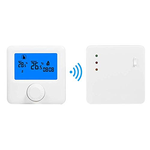 Mozusa Sistema de calefacción eléctrica de termostato inteligente inalámbrico, controlador de programación inteligente de calefacción programable de 16A controlador programable para sistema de calefac