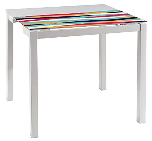 Abitti Mesa Cocina Extensible Cristal Serigrafiada y Patas Blancas Estilo Moderno Mueble 45-80x90x75 cm