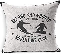 Action Ski Snowboard Club Sport Freizeit Wettkampf Skifahrer Aktiv Mountain Activity Badge Board Boardercross Baumwolle Leinen Kissenbezug 45cm x 45cm für Wohnzimmer Weihnachten Kissenbezug