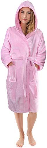 NY Threads Albornoz con Capucha para Mujer Vellón Suave Bata de Baño de Polar (Medium, Rosa)