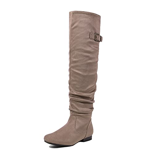 DREAM PAIRS Women's Colby Khaki Over The Knee Pull On Boots - 7.5 M US