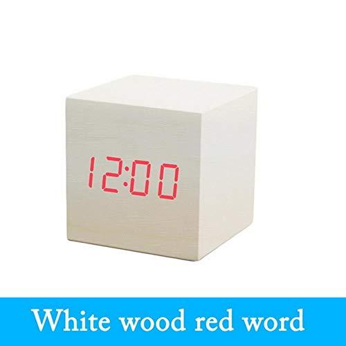 Termómetro digital Reloj despertador LED de madera Luz de fondo Control de voz Reloj de resplandor retro de madera Mesa de escritorio Despertadores luminosos, 60x60x60mm