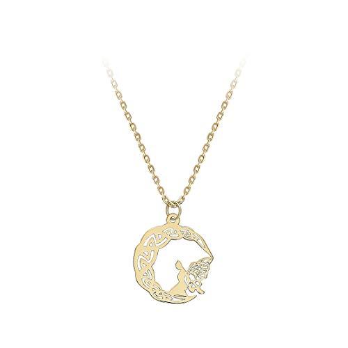 Carissima Gold Collar con Pendiente Ada en Luna Creciente 11,3mm x 14,5mm para Mujer en Oro Amarillo 9K (375) Ajustable - 41cm/16' - 46cm/18'