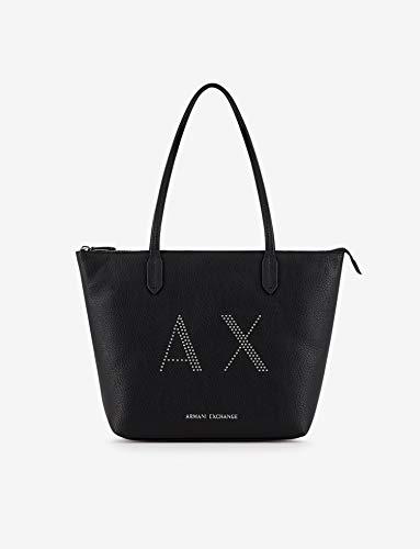 ARMANI EXCHANGE Borsa donna shopping bag big logo martellato nero