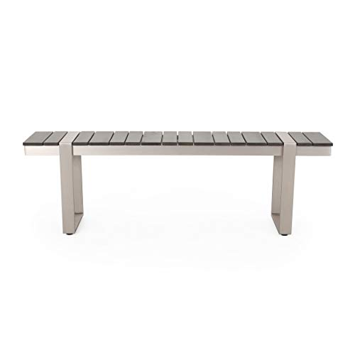 Christopher Knight Home 313718 Timothy Outdoor Aluminum Dining Bench, Gray + Silver