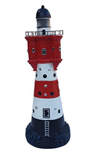 Fachhandel Plus Leuchtturm Roter Sand mit Solar Beleuchtung 47 cm Gartendeko Teichdeko Dekofigur