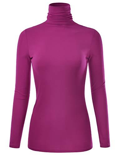 EIMIN Women's Long Sleeve Turtleneck Lightweight Pullover Slim Shirt Top Magenta 2XL